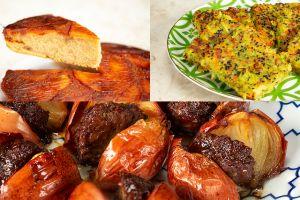 3 Tepside 3 Yemek: Soğan Kebabı, Elmalı Ters Yüz Kek, Sebze Mücveri