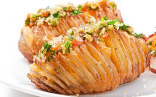 Cheddar'lı, Sote Sebzeli: Yaprak Patates