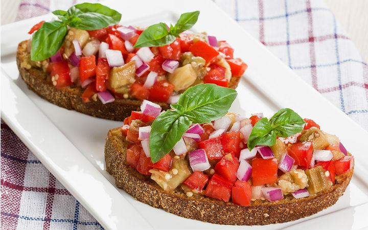 Köz Patlıcanlı Bruschetta Tarifi