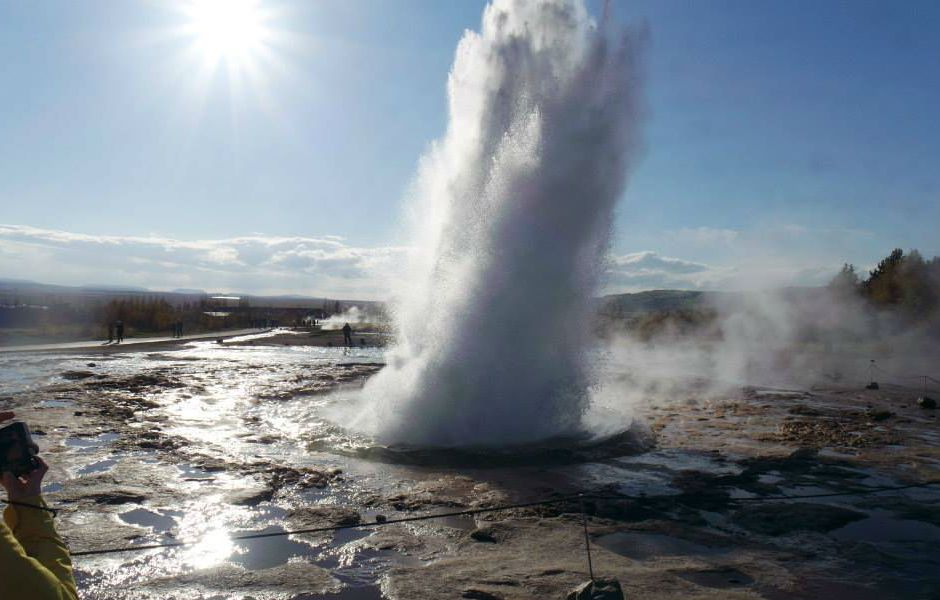 İzlanda Geysir Sıcak Su Fışkırması