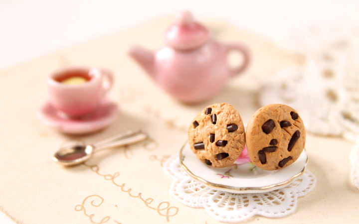 http://www.luulla.com/product/73688/miniature-food-earrings-chocolate-chip-cookie-stud-earrings-alice-in-wonderland-jewellery-miniatu | luulla