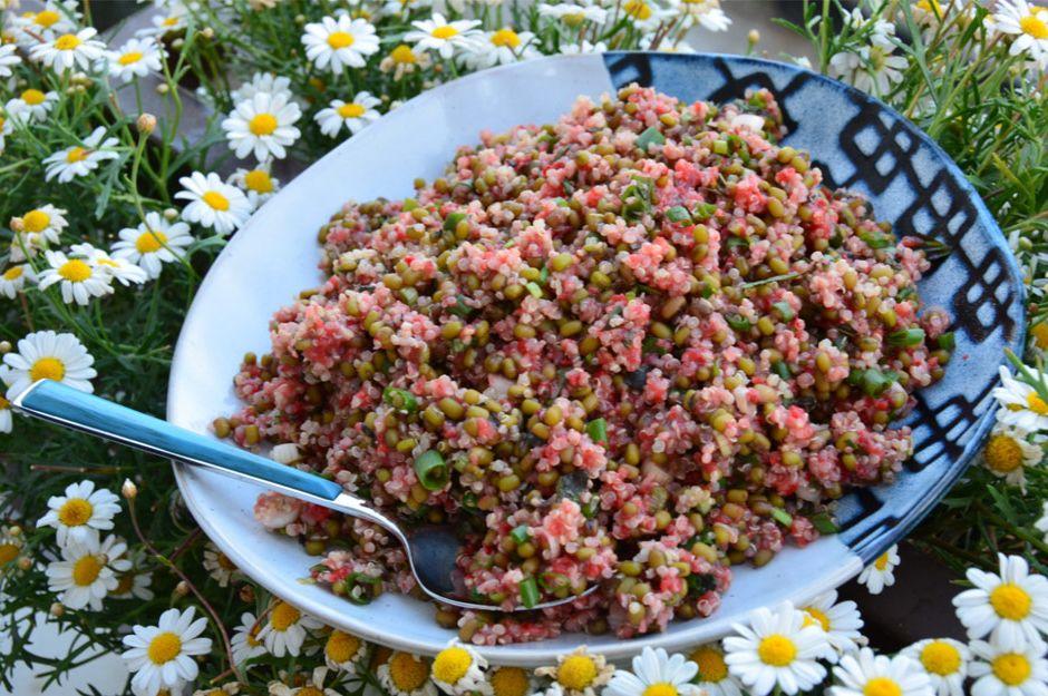 Çilek Soslu Maş Fasulyeli Kinoa Salatası