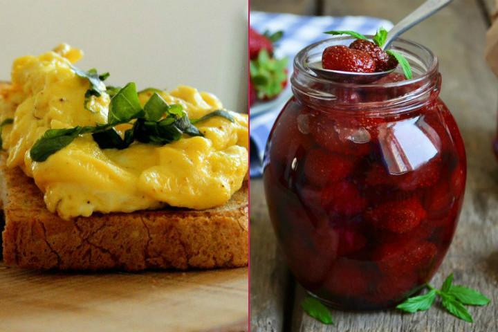 Hafta İçi Kahvaltısı: Ekmek Üzeri Çırpılmış Yumurta, 1 Dilim Beyaz Peynir, Çilek Reçeli, 1 Bardak Çay