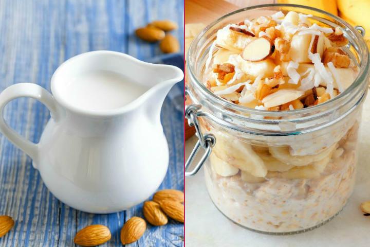 Diyet Kahvaltı: Kavanozda Hızlı Kahvaltı, Badem Sütü, Şekersiz Muzlu Pancake, Şekersiz Çilek Reçeli