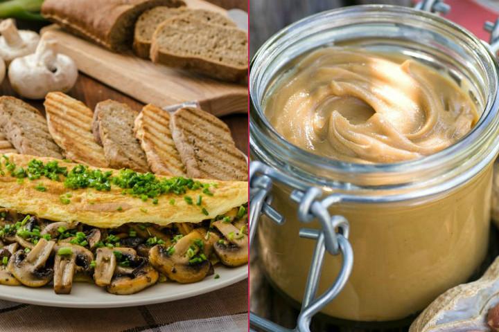 Sporcu Kahvaltısı: Mantarlı Omlet, 1-2 Dilim Tam Tahıllı Ekmek, Fıstık Ezmesi, Taze Sıkılmış Portakal Suyu