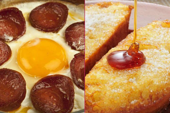 Pazar Kahvaltısı: Sucuklu Yumurta, Yumurtalı Ekmek, Kayısı Reçeli, Bal-Kaymak, Demleme Çay