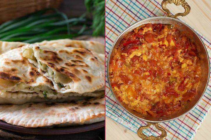 Köy Kahvaltısı: Patatesli Otlu Gözleme, Soğanlı Menemen, Keçi Loru, Bazlama, Demleme Çay