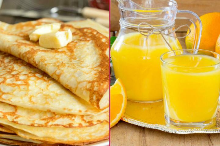 Ekonomik Kahvaltı: Sütsüz Krep, Lor Peyniri, 3 Portakal ile 5 Litre Portakal Suyu